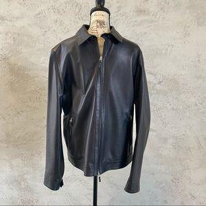 Ermenegildo Zegna Lamb Skin Leather Bomber Jacket